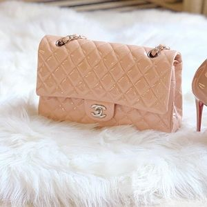 Chanel Vieux Rose Blush Pink Patent Classic Flap